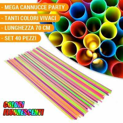 Set Cannucce 40 Pezzi Extra Lunghe Mega Giganti Multicolore Party Feste Cocktail