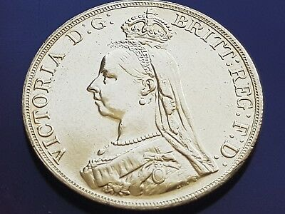 GREAT BRITAIN 1887 QUEEN VICTORIA JUBILEE £ 5 POUND 22ct GOLD COIN IN CAPSULE