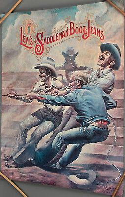 Vtg. Levi's Saddleman Boot Jeans Cowboy Art Poster Painting By B. L. Wolfe #454