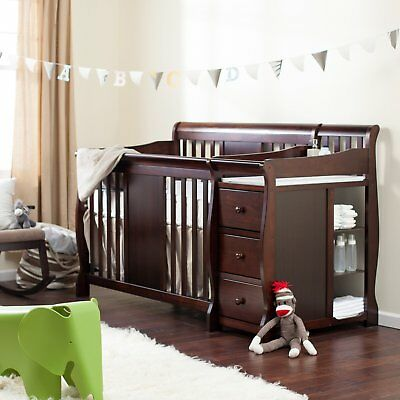 Baby  Changer Combo Convertible 4 In 1 Bed Nursery Toddler with Dresser