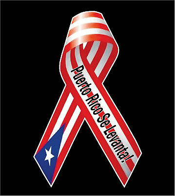 "PUERTO RICO CAR DECAL STICKER ""Puerto Rico Se Levanta!"" Ribbon  #395"