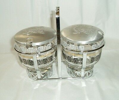 vintage jam jar set glass jars with silver toned tray and lids
