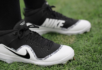 Nike Baseball 917920 100 Force Air Trout 4 Pro Shoes / Black White / Authentic