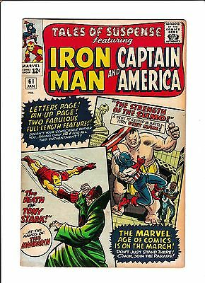 "Tales Of Suspense #61  [1965 Vg+]  ""the Death Of Tony Stark!"""