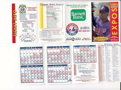 1995 Montreal Expos baseball SPRING TRAINING pocket schedule  & West Palm Beach