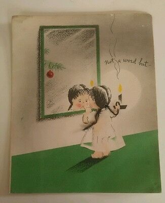 Sweet Vintage Christmas Card Folded Little Girl With Yarn Pigtails Collectible
