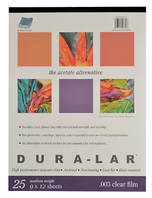 Grafix Clear .003 Dura-Lar Film, 9-Inch by 12-Inch, 25 Sheets