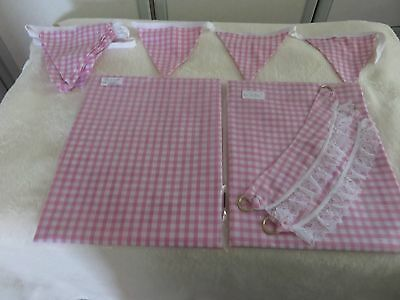 pink Gingham Playhouse curtains and accessories