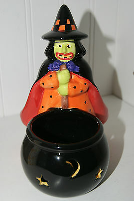 """Mary Engelbreit Halloween Witch Candle Holder """"Welcome to Frightville"""" 2003"""