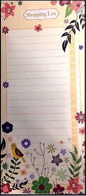 Shopping List Note Pad Flowers Design Lined Paper( Magnetic Back )- WH3-R6B-374