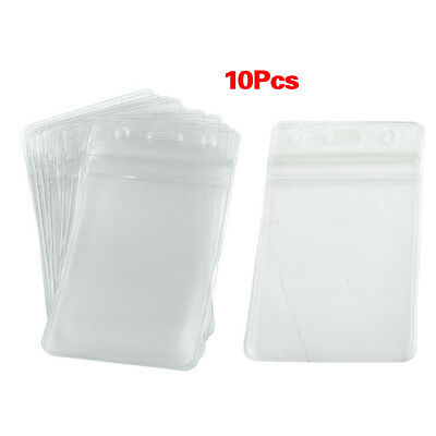 10 pcs Soft Plastic Vertical BusIness ID Card Badge Holde X3L8