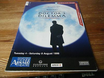 1998  Theatre  Programme  -The Doctors Dilemma -  Guildford  Arnaud Theatre Vgc