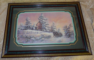 Vtg HOMCO Home Interior Picture By Lee K Parkinson Snow Scene Horse Drawn Sleigh