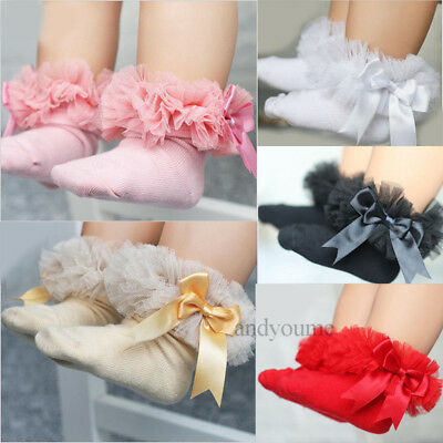 Cute Baby Kids Girls Princess Bowknot Sock Lace Ruffle Frilly Cotton Ankle Socks