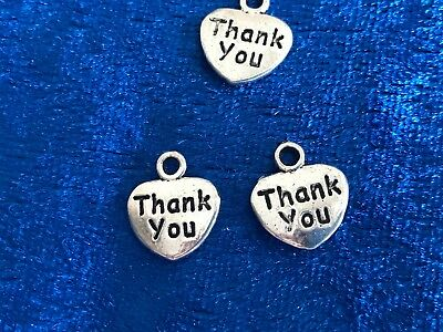 Tibetan Alloy THANK YOU  Hearts Antique Silver Charms  Writing on 1 side