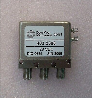 Quantity 1  -  Dow-Key Microwave 28 VDC SPDT SMA RF Relay  -  Model 403-2308