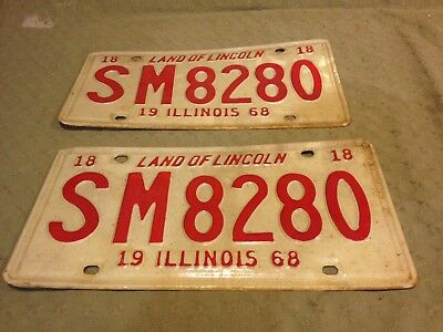 Vintage Pair Of Two (2) Illinois License Plates 1968 1818 Land Of Lincoln