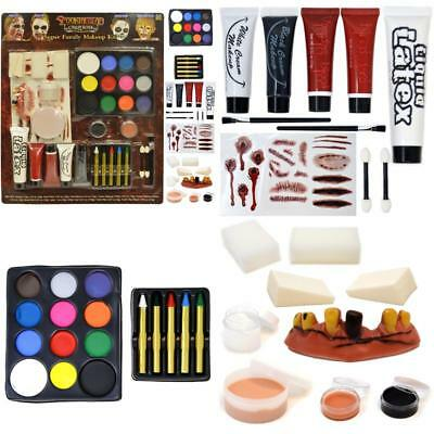 Halloween  Make Up 36 Pieces Kit Fake Blood Gel Liquid Latex Non-Toxic Party New