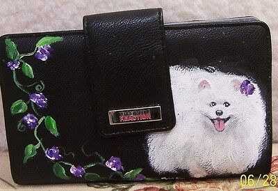 Hand painted Pomeranian white on Kenneth Cole Reaction ckeckbook wallet
