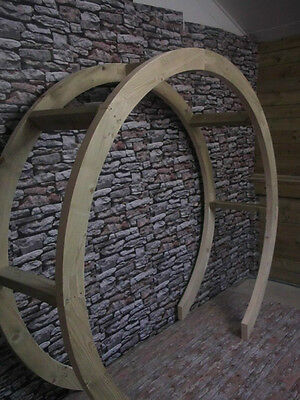 Wooden Garden Circle Arch/Moon Gate, Rounded Arch