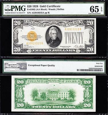 Amazing GEM UNCIRCULATED 1928 $20 *GOLD CERTIFICATE*! PMG 65 EPQ! A32819315A