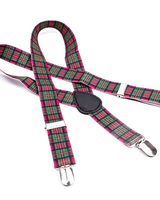 Green Tartan Braces Kids Toddler Suspenders Punk Cool Cute Costume Rockabilly