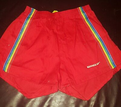 Vintage 70s 80s Mens Red Runner Up RAINBOW Stripe  Short Shorts Medium