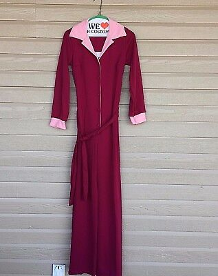 Vtg 70s JUMPSUIT Polyester SEARS The Great Entertainers with Belt - Halloween?