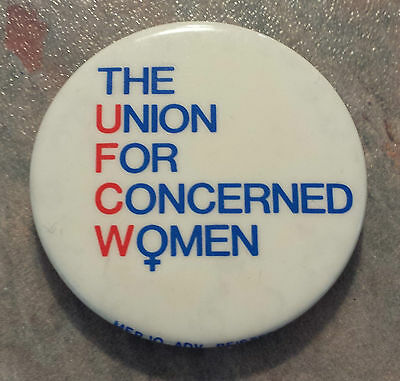 """Union For Concerned Women UFCW Trade Union Pinback Buttons 1980s 2 1/4"""""""