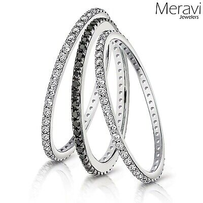 Eternity 925 Sterling Silver Stackable Wedding Ring Women Black Thin Bridal Band