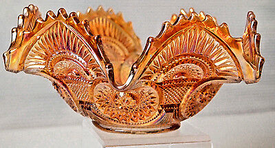 Collectible Vintage Imperial Marigold Carnival Glass TWINS Pattern Fruit Bowl (1