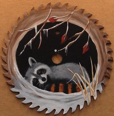 Hand Painted Saw Blade Sleepy Raccoon in Log Snow Cabin Lodge Country Decor