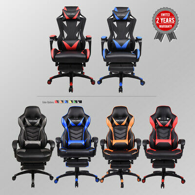 Recliner Gaming Chair High Back Racing Desk Task Seat Computer Ergonomic Leather