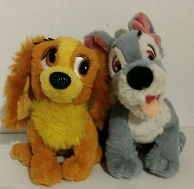 """Disney Lady 8"""" and The Tramp 9"""" Tote A Tail Bean Bag Plush Figure Set"""
