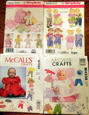 """4 Simplicity & McCall's 15"""" Baby Doll Clothes Sewing Patterns for Boys&Girls NEW"""