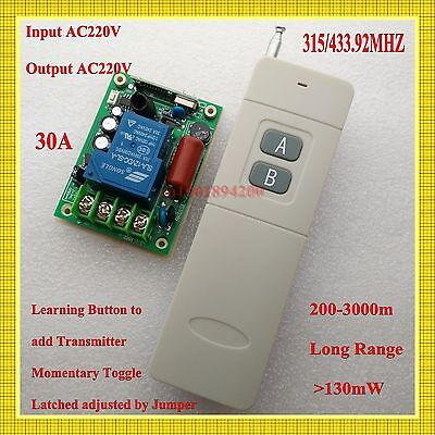 AC220V 30A Remote Control Switch+Long Distance Transmitter 200-3000m Water-Pump