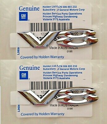 HOLDEN VY VZ COMMODORE CALAIS SS SSZ ' V8 ' CHROME FENDER BADGE x2 GENUINE NEW