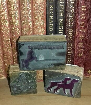 Vintage printing blocks dog horse chick