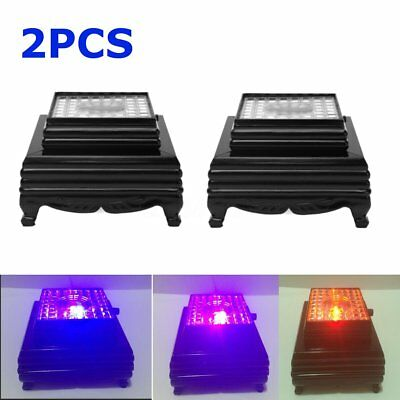 2Pcs 3D Crystal Glass Trophy Laser 3 LED Light Up Stand Base Display 8 x 8 x 5cm