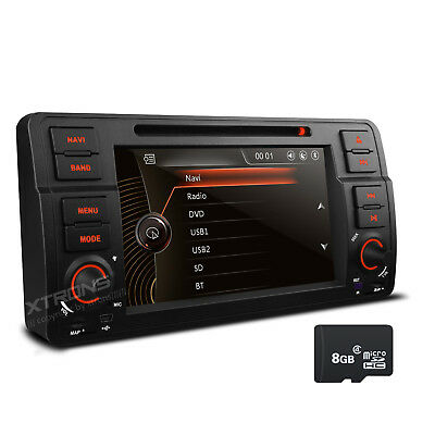 "7"" Touch UI Car Radio DVD GPS Navi 1 DIN Stereo 1080P Video for BMW E46 318 320"