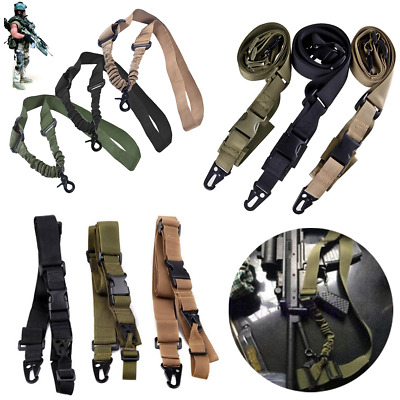 Adjustable Hunting 1/2/3 Point Rifle Sling Bungee Tactical Shotgun Strap Hook