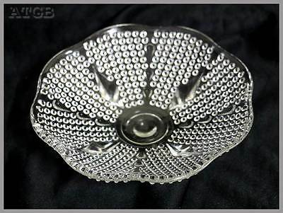 Vintage depression clear glass four footed small bowl studded look PRETTY 16cm