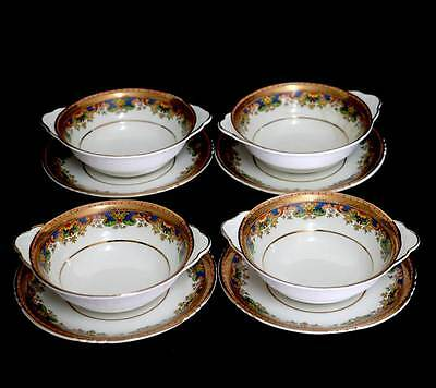 Antique John Maddock & Sons set of four soup coupes and saucers