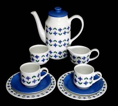 Vintage Midwinter Roselle retro blue & white coffee for two set with coffee pot
