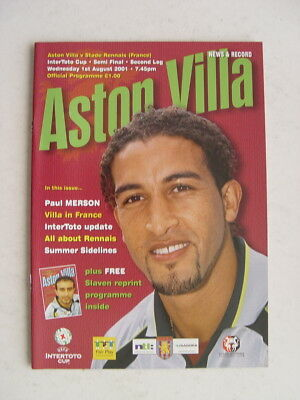 Aston Villa v Stade Rennais 2001 Intertoto Cup semi final