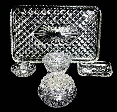 Vintage cut crystal sparkly 6 piece dressing table set in great condition