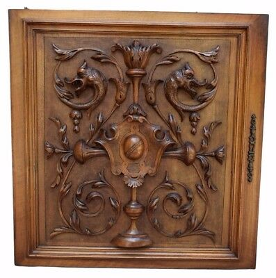 French Antique Large Carved Neo-Gothic Griffin Wood Cabinet Door Panel 19th.c n2