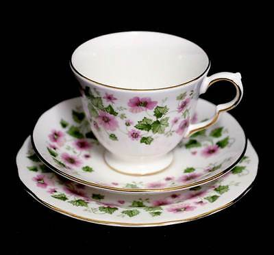 Vintage Queen Anne stunning pink & green pretty trio teacup set