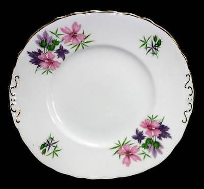 Vintage pretty Colclough pink & purple flowers cake plate platter