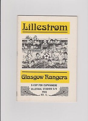 Lillestrom v Rangers Cup Winners Cup 1979/80